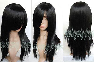 Fashion Long Medium Layered Straight Cosplay Anime Classic Party Wig 24'' Black