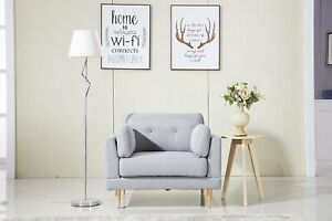Details about Mid Century Living Room Bedroom Arm Chair, Fabric Accent  Chair, Light Grey