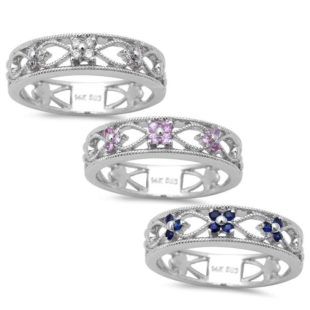 .10ct Antique Filigree Style Diamond, bluee or Pink Sapphire 14kt White gold Ring