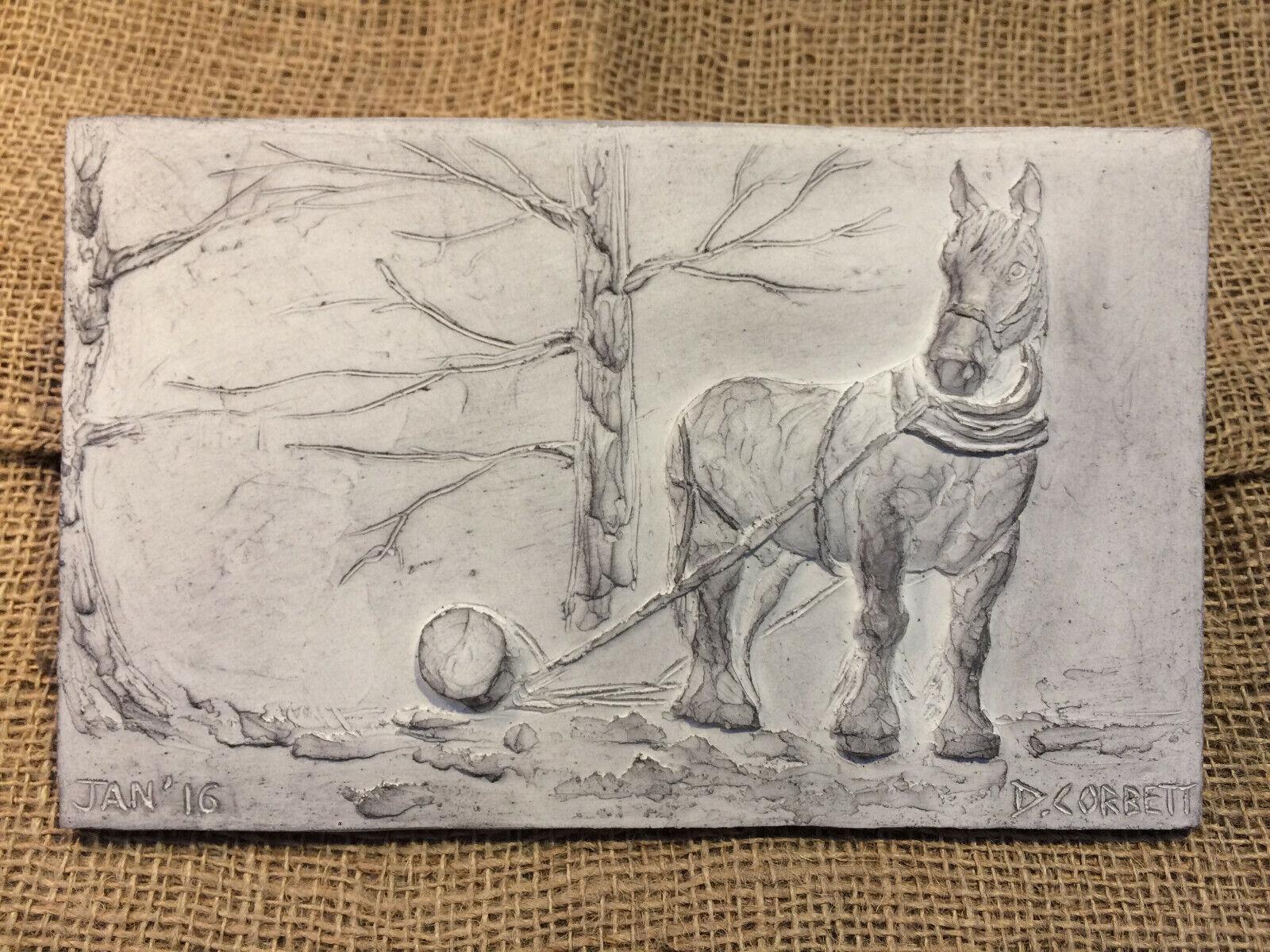 Logging horse, shire horse picture, garden ornament, wall sculpture, horse art