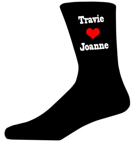 Valentines Gift-email with names Personalised Names-Heart Design on Black Socks