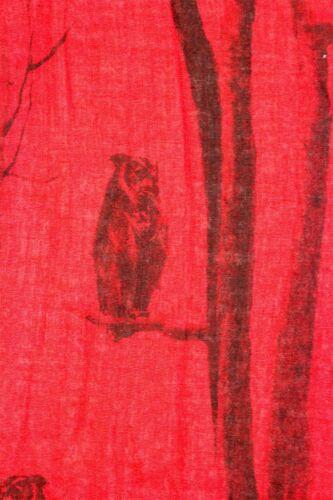 Owl on Tree Branch Bird Animal Print Cotton Scarf Wrap Chiffon Large Soft UK