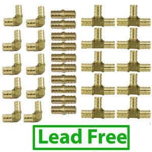 "(30) 1/2"" LEAD FREE BRASS PEX FITTINGS 10 Each: Elbow Coupler Tee"