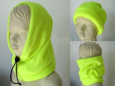 Kids girls boys NEON YELLOW SNOOD neck warmer scarf ski hat hi vis bright School