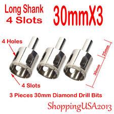 3X 30mm Diamond Drill Bits Set Hole Saw Cutter Tool 4 Slots Glass Marble@@