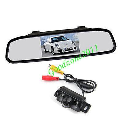 "7 IR Waterproof Car Rear View Reverse Backup Camera + 4.3"" LCD Mirror Monitor"