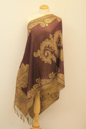 Ladies Paisley Pattern Printed Pashmina Two Tone Tassel Scarf Shawl Wrap Gift