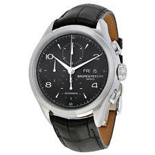Baume et Mercier Chronograph Black Dial Black Leather Mens Watch MOA10211