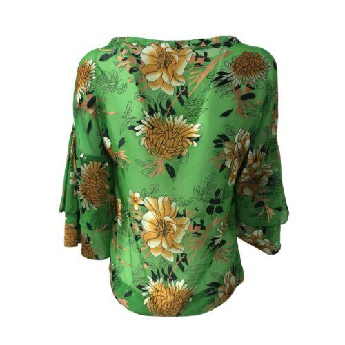 Mod Biancoghiaccio Donna Camicia 4 3 Manica Fantasia Verde Camerun 01zT0q