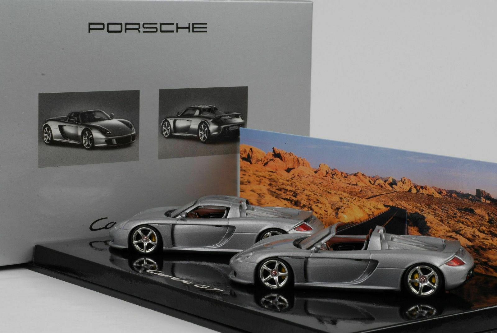 2003 Porsche Carrera GT Set-Open Closed argent Minichamps 1 43 WAP