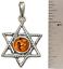 thumbnail 2 - Star of David Pendant Genuine Baltic Brown Amber 925 Sterling Silver  # 55