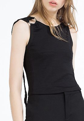 black RRP £19.99 size S Size 10 2 X Women/'s Zara black crop top rings