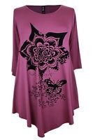 IVANS PLUM-PURPLE/BLACK VELVET FLORAL PATTERN ASYM HEM TUNIC- PLUS SIZE 16-26/28