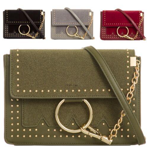 Ladies Faux Suede Satchel Bag Shoulder Bag Girls Messenger Bag Handbag KL877