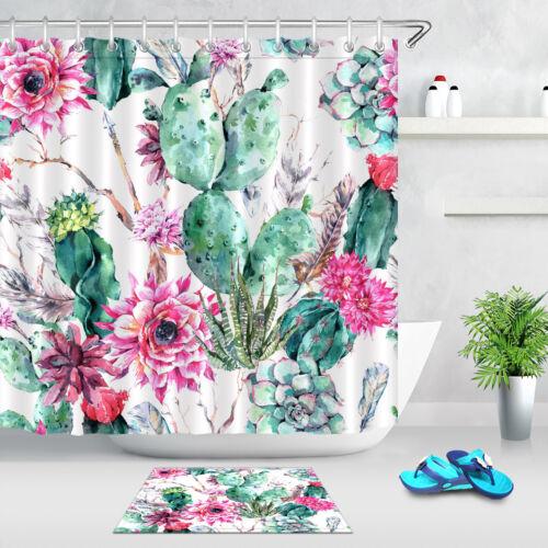 """Watercolor Cactus Floral Boho Arrow Succulents Fabric Shower Curtain Set 72x72/"""""""