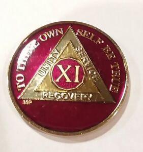 11 Year AA Sobriety Coin Medallion Rich Midnight Blue Enamel Eleventh XI