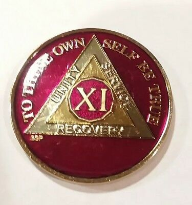 6 Year AA Sobriety Coin Medallion Rich Mandarin Red Enamel 6th Year VI BSP