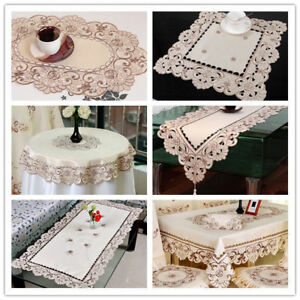 White-Embroidered-Lace-Table-Cloth-Floral-Tablecloth-Wedding-Party-Satin-Fabric