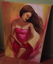 Art PAINTING Canvas Woman Red Dress Sitting Wall Decoration Girl Decorative Hang