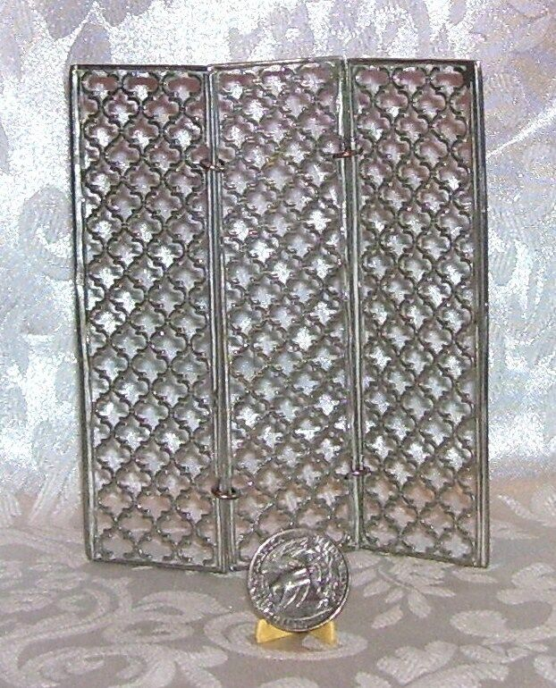 VINTAGE DOLLHOUSE MINIATURE PEWTER FOLDING ROOM SCREEN COLONIAL CRAFTSMEN USA