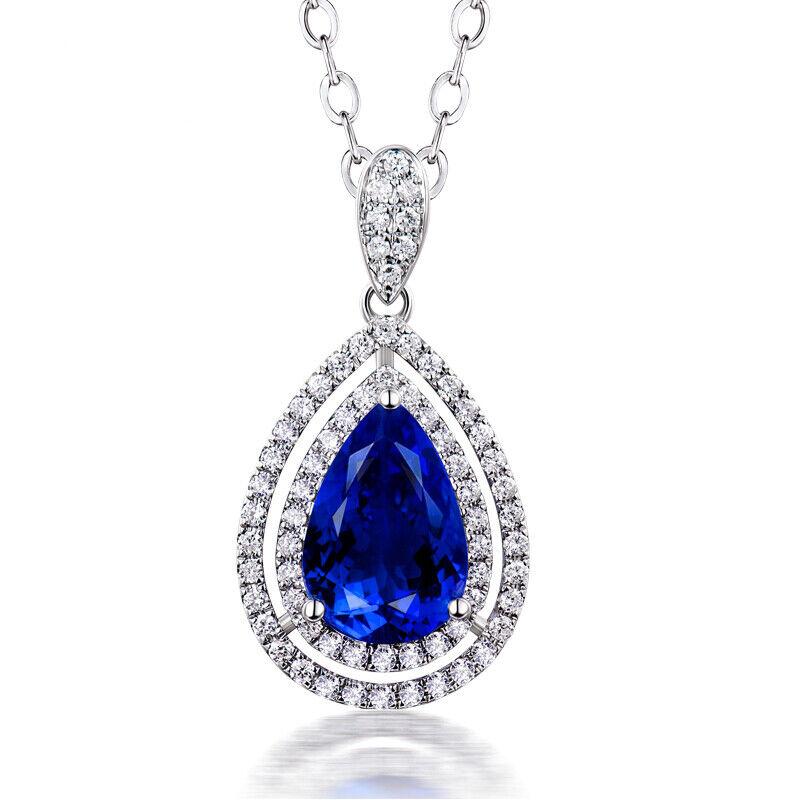 Beautiful Jewelry Diamond & Pear Cut AAAA++ Tanzanite Pendant in 18k White gold