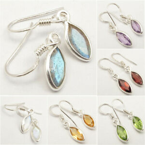 925-Solid-Silver-MARQUISE-Gemstone-Earrings-Bastille-Day-Jewelry-NEW