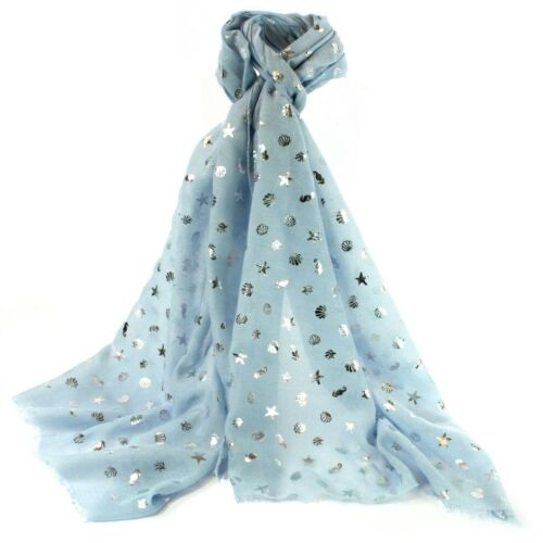 Blue Silver Foil Seashell Scarf Gift Scarves Present Ladies Scarves Holiday New