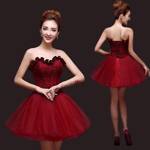 Details About Crimson Strapless Evening Prom Dress Wedding Bridesmaid Short Skirt Lace Up Q343
