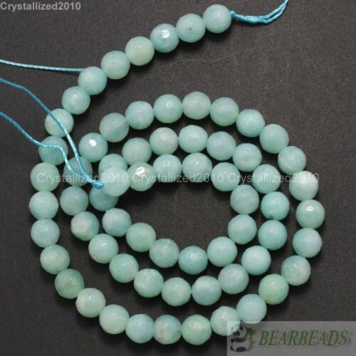 """Natural Amazonite Gemstone Faceted Round Loose Beads 4mm 6mm 8mm 10mm 12mm 16/"""""""