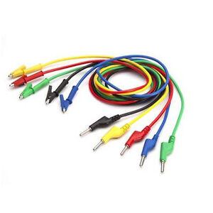 Hot-5X-Silicone-Banana-Plug-to-Crocodile-Alligator-Clip-Test-Probe-Lead-Wire-CS