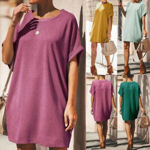 Women-Summer-Short-Sleeve-Casual-Loose-Sundress-Tunic-Tops-Mini-T-shirt-Dress-US
