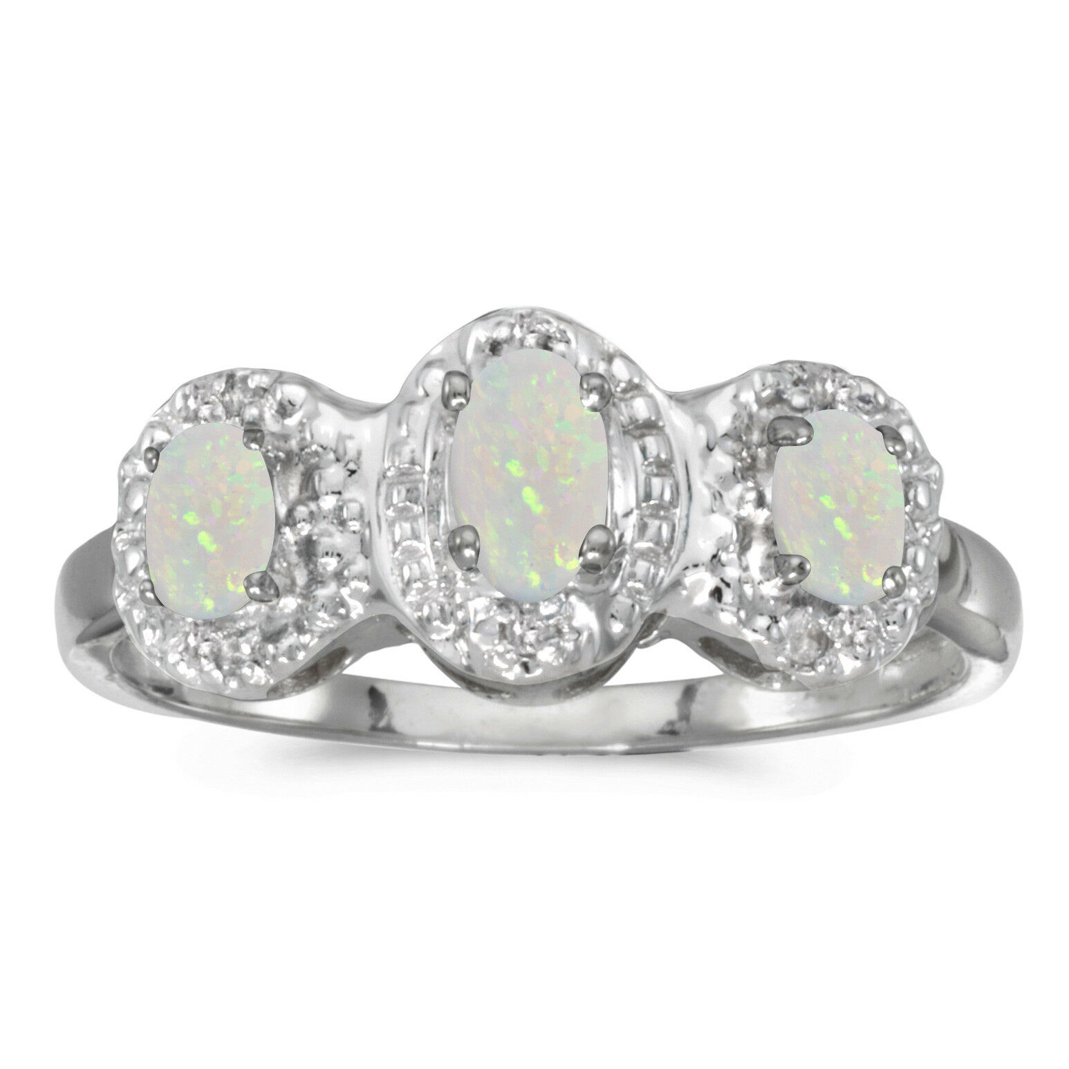 Details about  /10k White Gold Oval Opal And Diamond Ring