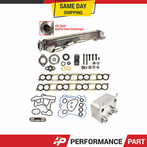 Engine Oil Cooler & EGR Cooler Kit w/ Gaskets for Ford 6.0L OHV V8 Diesel Turbo