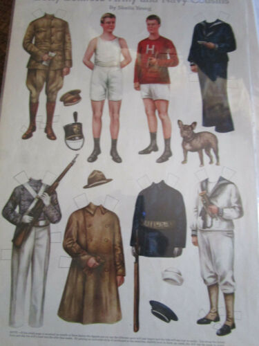 1917 Sheila Young BETTY BONNET'S Paper Doll ARMY & NAVY Cousins UNCUT
