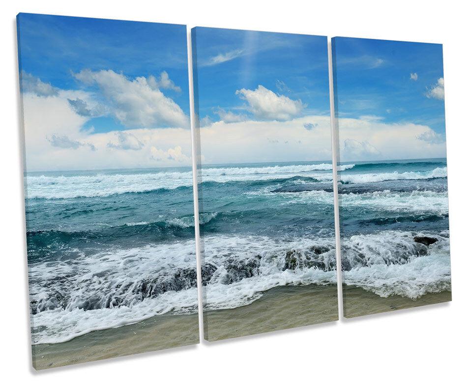 Blau Seascape Beach Wave CANVAS WALL ART TREBLE Box Frame Print