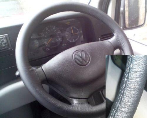 Per VW LT VAN Mk2 1996-2003 VERA PELLE NERA VOLANTE copertura migliore qualità