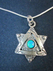 """Artisan Sterling Silver Star of David with Opal Pendant Necklace 18"""" 925 Chain"""