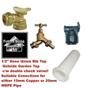 12034 Hose Union Bib Tap Outside Garden Tap DZR cw double