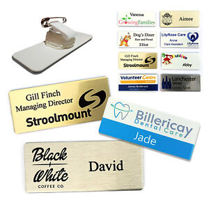 Details about ROTATING CLIP & PIN Staff ID Name Badges Tags Corporate  Personalised & Your Logo