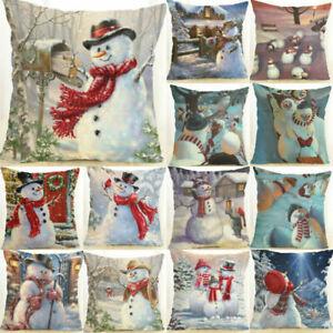 18-034-Christmas-Snowman-Cotton-Linen-Home-Decor-Throw-Pillow-Case-Cushion-Cover