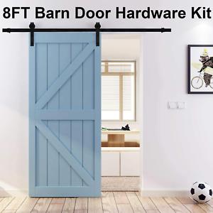 ORCISH 8ft Single Sliding Barn Door Hardware Kit Fit 42-48 Wide Door Panel J Sh