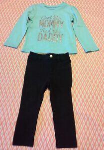 Clothing, Shoes & Accessories Toddler Girl The Children's Place Teal Graphic Top & Black Jeggings Size 2t Aesthetic Appearance