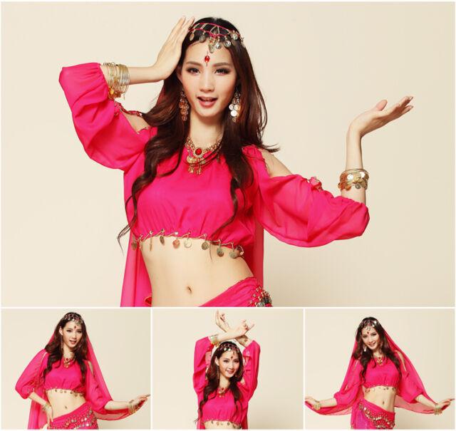 New Elegant Belly Dance Costume Lantern Blouse Long Sleeves bra Top 8 colors