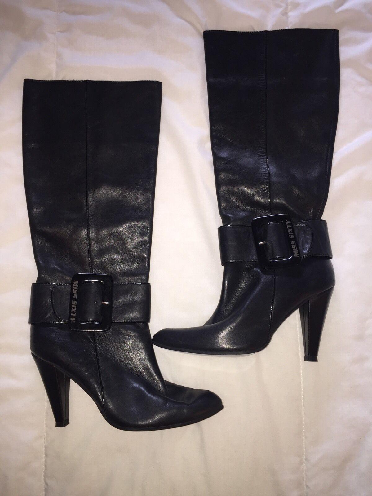 all'ingrosso economico e di alta qualità Miss Miss Miss Sixty nero Leather stivali Dimensione 6  prodotti creativi