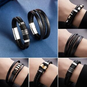 Punk-Men-039-s-Multilayer-Leather-Black-Bangle-Cuff-Braided-Bracelet-Chain-Jewelry
