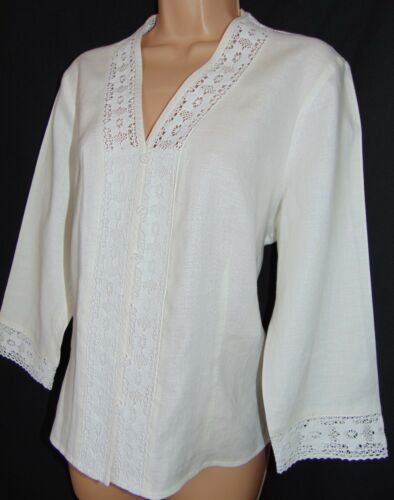 Nwt Ashley Insert Lace 16 Linen Bobbin Optic Blouse Laura Cotton Vintage white FUg6Fq
