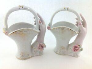 Pair-of-Vintage-Ceramic-Hands-Holding-Baskets-Vase-in-Pink-White-with-Rose