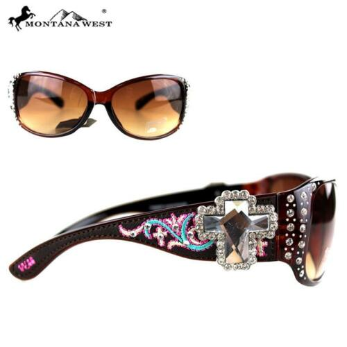 Montana West Cross Embroidery Bling Sunglasses Cheetah Leopard Brown Black Red