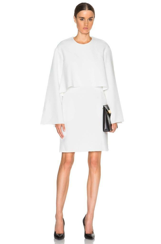 New ELLERY Ivory White Crepe Dandelion Wide Sleeve Sleeve Sleeve Top Over Dress AU8  789 6431f0