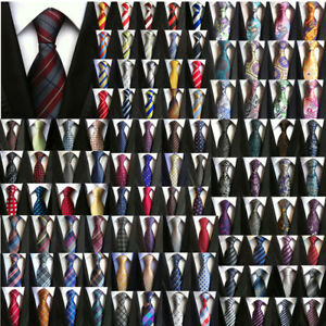 Classic-Mens-Stripe-Paisley-Floral-Checks-Necktie-JACQUARD-WOVEN-100-Silk-Tie